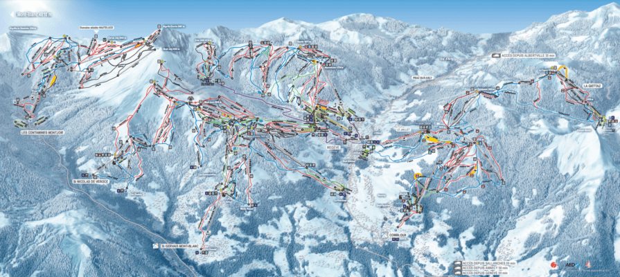 skimap of Megeve French Alps Mont Blanc