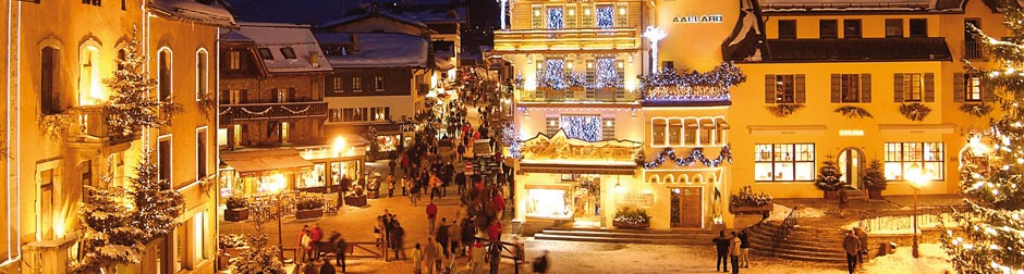 Megeve ski village at christmas french alps